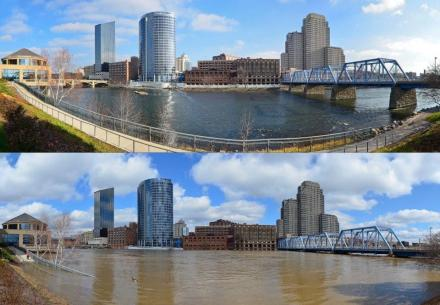 Comparisson of flooded/not flooded downtown GR